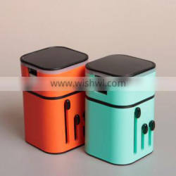 2015 Custom logo printing Dual usb universal travel adapter with USB charger