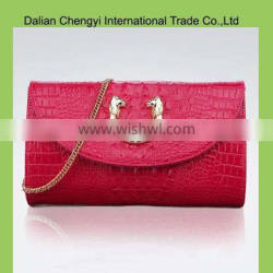 Newest fashion pu leather Luxury women bag with metal chain
