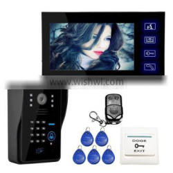 """Wholesale Wired Touch Key 7"""" Video Door Phone Intercom System 1 RFID Keypad Code Number Doorbell Camera 1 Monitor"""