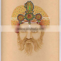 Rajpoot King Miniature Painting With Gold Work Turban Man Handmade Water Color Painting