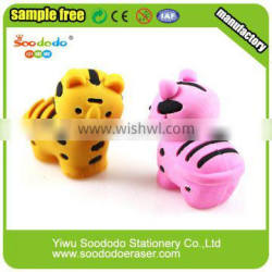Hotsale Cheap Chinese Stationery 3D Tiger Cute Animal Rubber Eraser