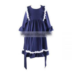 Toddler Girls Dress Back to School Ruffle Kids Clothes Girls Solid Cotton Dress