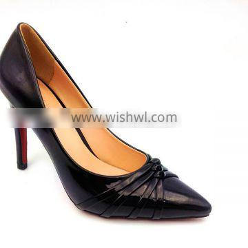 black hot sell point toe high heel lady shoes,thin heels women party heels