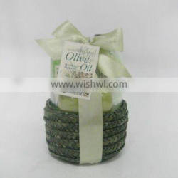 popular luxury bath gift kit with grass basket packaged