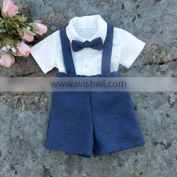 2017 New arrival toddler Summer Children's Clothing Sets Wholesale Baby Clothes white shirt and shorts new baby suit