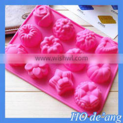 HOGIFT Thick silicone cake mold,12 holes flowers shape pudding jelly mold,handmade soap mold