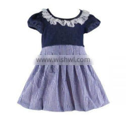 2016 kaiyo pearl dress boutique simple ruffle dress cute tunic OEM service short sleeve baptism dress for children