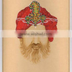 Rajpoot King Miniature Painting With Gold Work Turban Man Hand Painted Water Color Painting