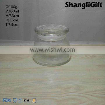 450ml Bubble Glass Candle Holder with Glass Topper