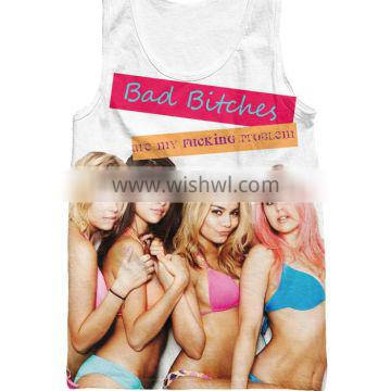 2016 fashion ladies custom 3D printing bad bitches tank top gym summer style