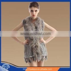 Newest 2015 Long Style Women Knitted 100% real Raccoon Collar Rabbit fur gilet With Tassels