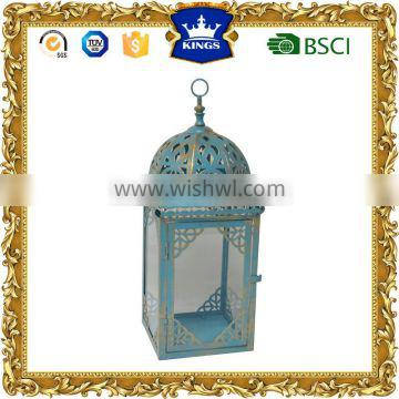Blue with golden brush moroccan metal candle lantern