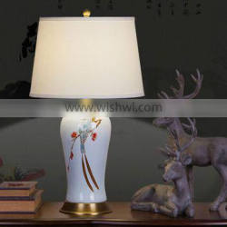Printing Ceramic Body With Fabric Lampshade Modern Desk Lamp Bedroom Living Room Table Lamp