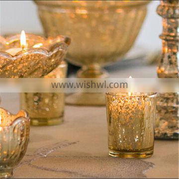 Filled Mercury Glass Antique Votive Candle Glass Candle Jars &Gift For Great For Weddings