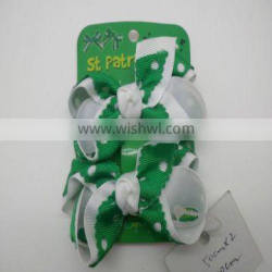 St Patricks Day Green And White Hair Bows With French Clips