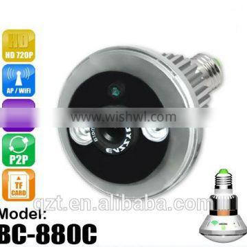 H.264 Loop recording motion detection APP control wifi ip camera led bulb