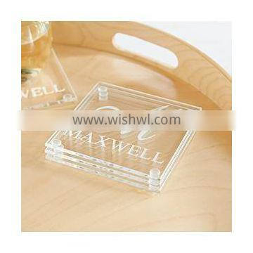 Personalized Family Name and Initial Glass Coaster - Set of 4