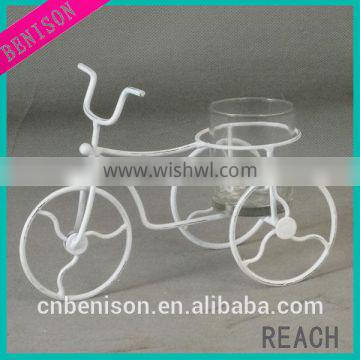 BS12-933 white matt small tricycle-shape home decorative metal candle holder