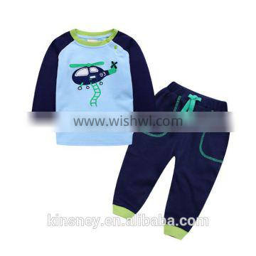 KS40021bg Printed design new autumn young boys suits casual comfortable baby boy sets