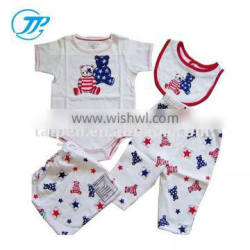 High Quality 100% Organic Cotton 4pcs Baby Romper Infant Clothing Sets
