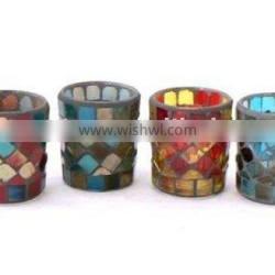 red mosaic votive candle holder