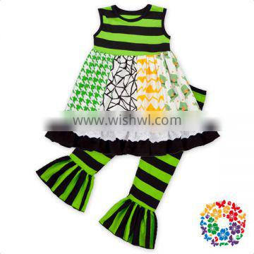 St.Patricks Day Latest Design Clothes Set Sleeveless Patchwork Pattern Outfit Baby Children Girls Clothing Sets