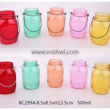 300ml 500ml glass mason jar with sprayed color