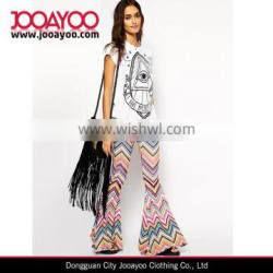 New Fashion Designer Custom Women Skinny Zig Zag Print Flare Ladies Yoga Pants Womens