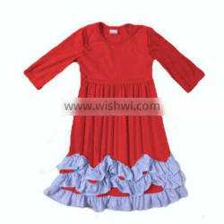 2016 new arrival red color ruffle dress knit cotton 3/4 sleeve baby dress new style