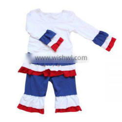 Wholesale 2016 New Cute American Baby July 4th Boutique Outfits Cotton Layered Dress Clothing Sets Kids Girls Patriotic Outfits