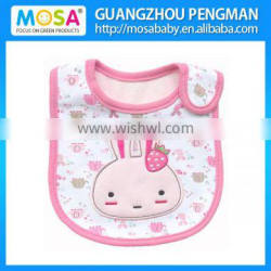 High Quality Cute Rabbit Pattern Embroidery Water-proof Cotton Baby Bib