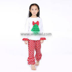 online shipping children Christmas pajamas red and white 2 pieces boutique ruffle christmas oufits