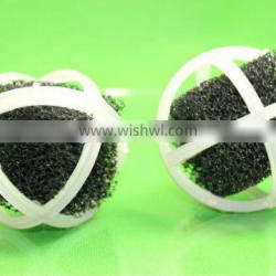 Cross sponge ball for tower cleaning and water treatment