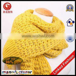 2015 new style acrylic yellow knitted scarf
