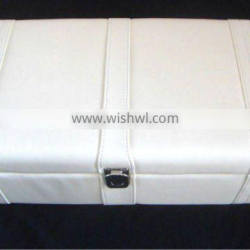 Simple White Leather Wine box for 2 bottles