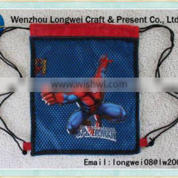 superman nonwoven drawstring canvas shopping bag