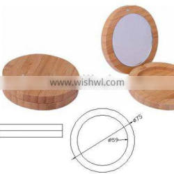 single eyeshadow bamboo case, squre bamboo power case ,power case with mirror