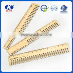 Fancy design kinds of comb shape 15cm wooden straight rulers for drawing studing in school
