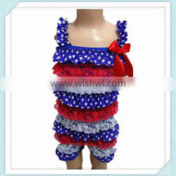 Christmas Satin Romper Baby Romper With Straps Summer Children Lace Petti Romper Patriotic 4th of July Lace Romper Blue Star