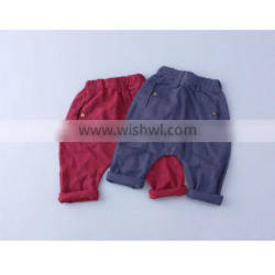 new model 2017 spring baby bottoms cotton ramie blue and red color cute style little boy and girl pants
