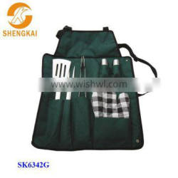 7pcs stainless steel castor bbq set with apron