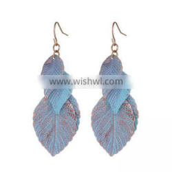 long thin leaves Earrings personality blue paint leaves Tassel Earrings