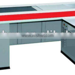 check-out counter with conveyor belt