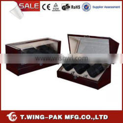 LED, metal accessories, wooden luxury watch winder 6 watches, automatic winding for watch display