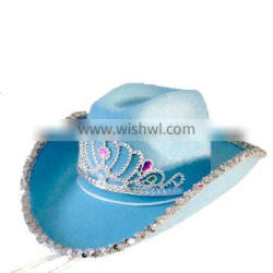 MCH-1315 Party Carnival funny cheap blue crown cowgirl felt Hat