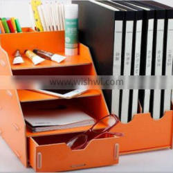 Multifunctional/Practical/Foldable Natural Color Wooden DIY Desktop Storage/Organizer/File Container for Home/Office
