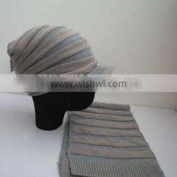 winter fashion jacquard knitted scarves and hats