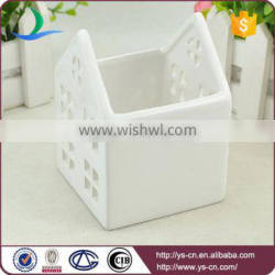 Wholesale white ceramic candle holder in houses design