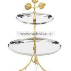 silver & gold plate metal fancy wedding cake stand