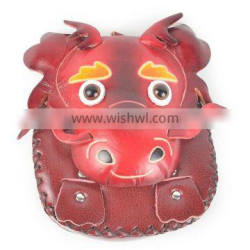 Lovely lady's handmade genuine leather animal dragon shaped coin purse